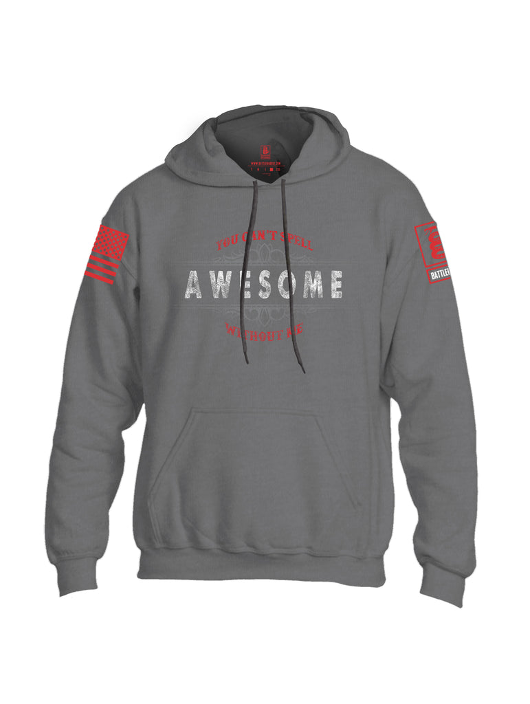 Battleraddle You Cant Spell Awesome Without Me Red Sleeve Print Mens Blended Hoodie With Pockets