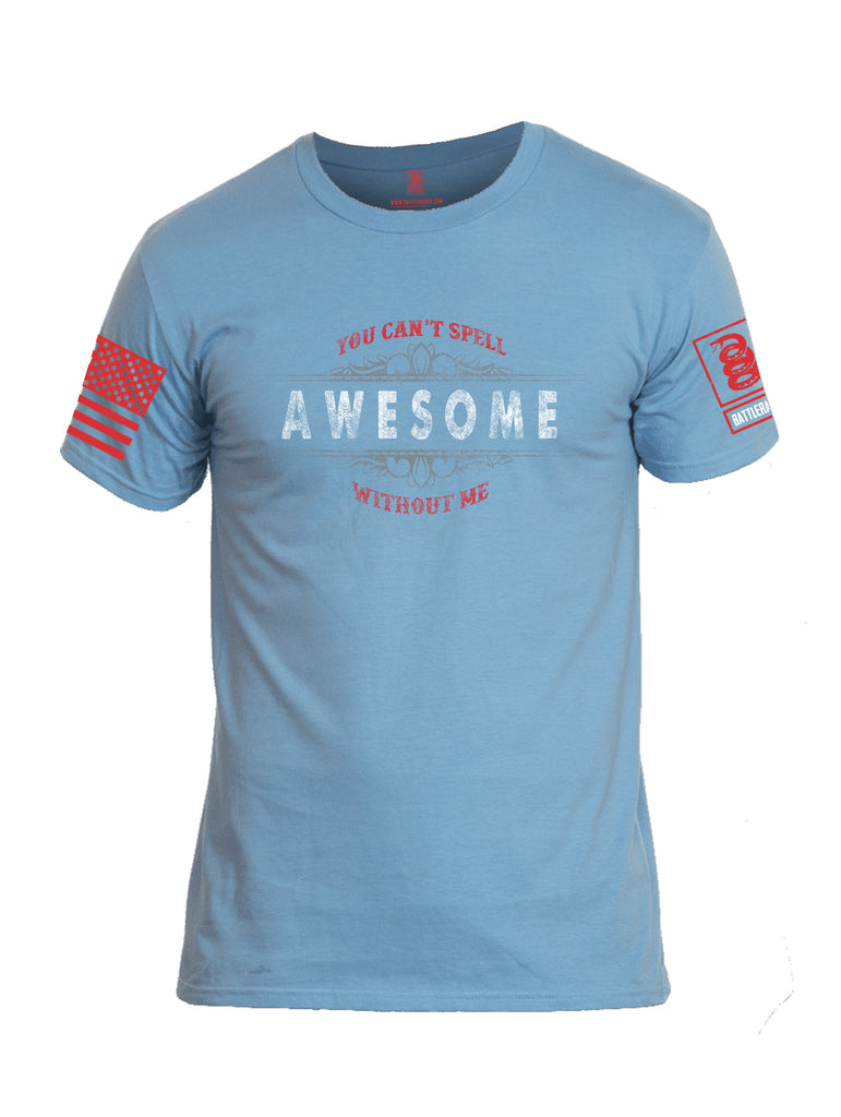Battleraddle You Cant Spell Awesome Without Me Red Sleeve Print Mens Cotton Crew Neck T Shirt