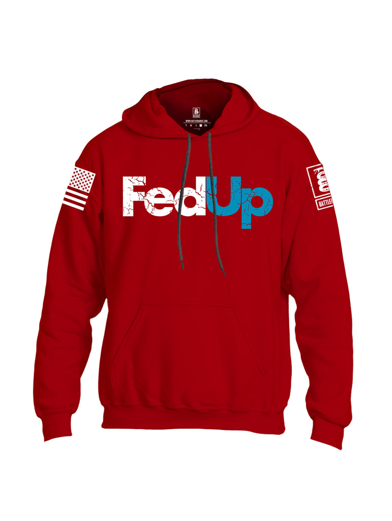 Battleraddle Fed Up Blue {sleeve_color} Sleeves Uni Cotton Blended Hoodie With Pockets