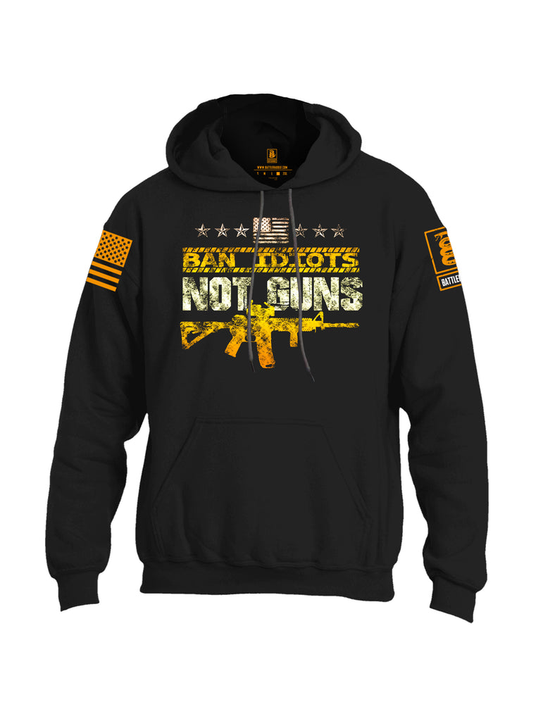 Battleraddle Ban Idiots Not Guns Orange Sleeve Print Mens Blended Hoodie With Pockets