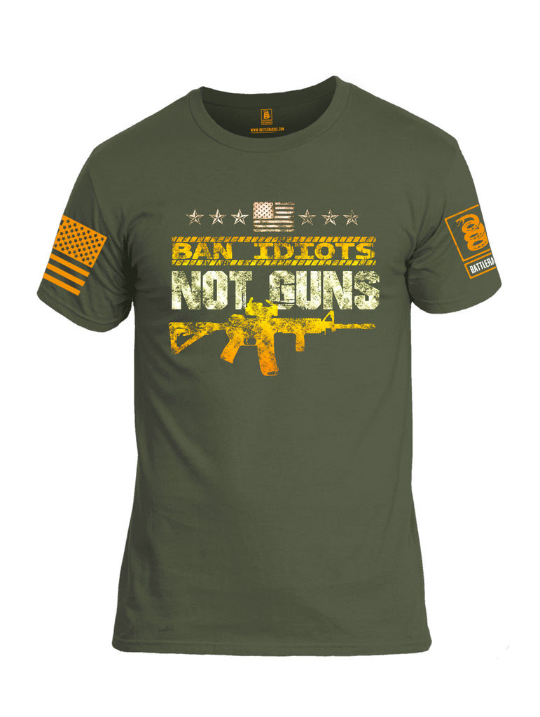 Battleraddle Ban Idiots Not Guns BR Logo Orange Sleeve Print Mens Cotton Crew Neck T Shirt