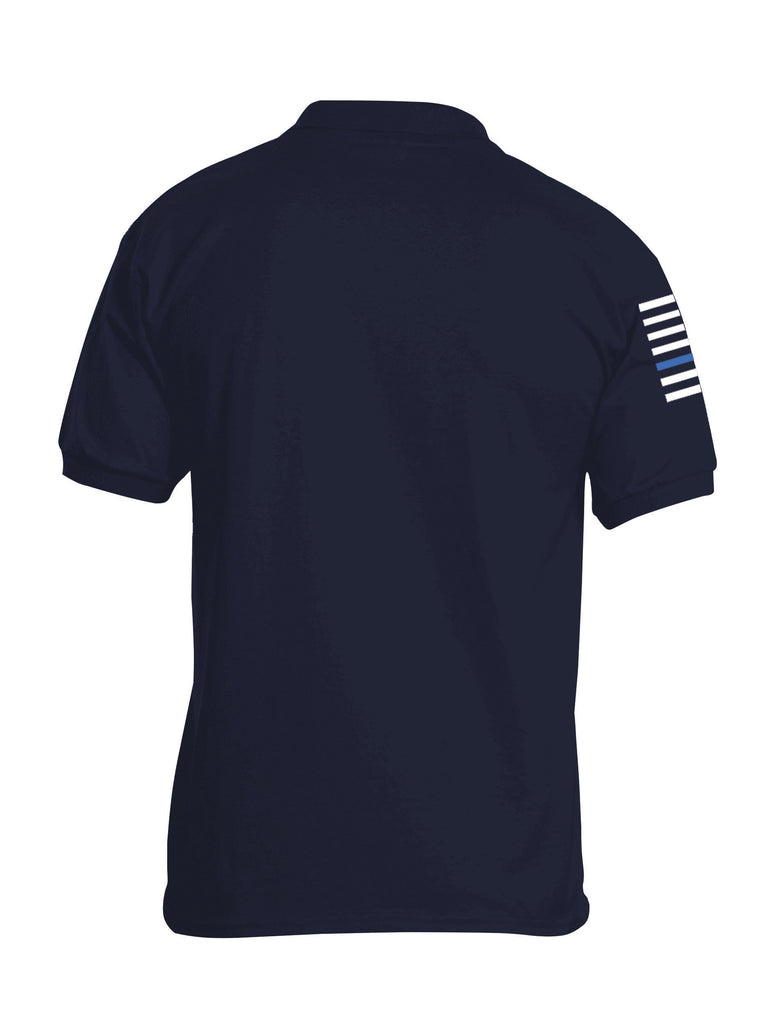 Battleraddle Basic Line Blue Line Flag Right Sleeve Mens Cotton Jersey Polo T Shirt - Battleraddle® LLC