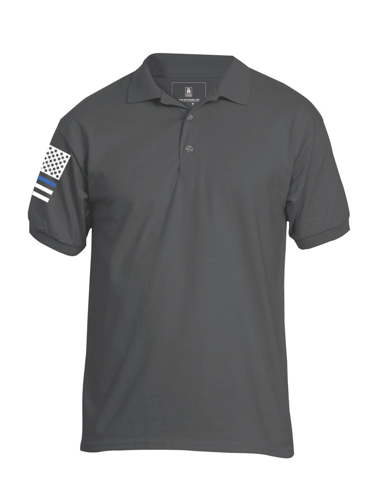 Battleraddle Basic Line Blue Line Flag Right Sleeve Mens Battlefit Polyester Jersey Polo T Shirt - Battleraddle® LLC