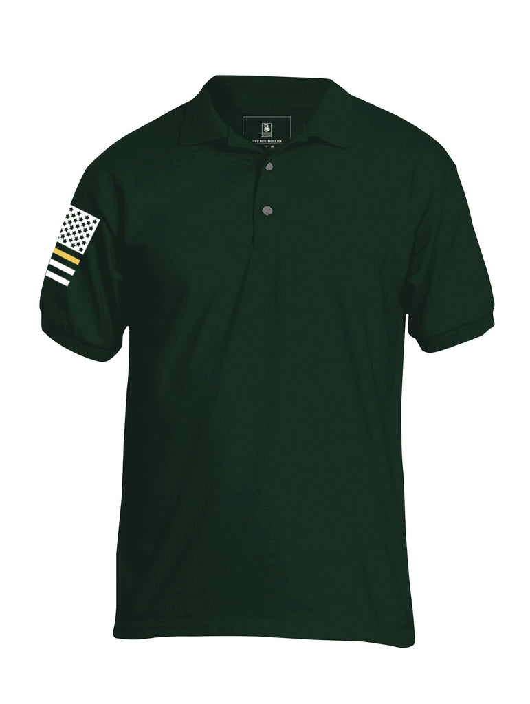 Battleraddle Basic Line Brass Line Flag Right Sleeve Mens Cotton Jersey Polo T Shirt - Battleraddle® LLC