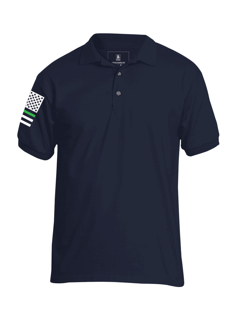 Battleraddle Basic Line Green Line Flag Right Sleeve Mens Cotton Jersey Polo T Shirt - Battleraddle® LLC