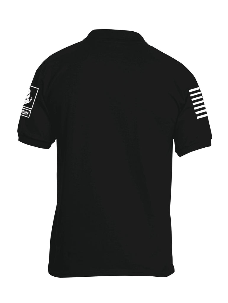 Battleraddle Basic Line White Sleeve Print Mens Cotton Jersey Polo T Shirt - Battleraddle® LLC