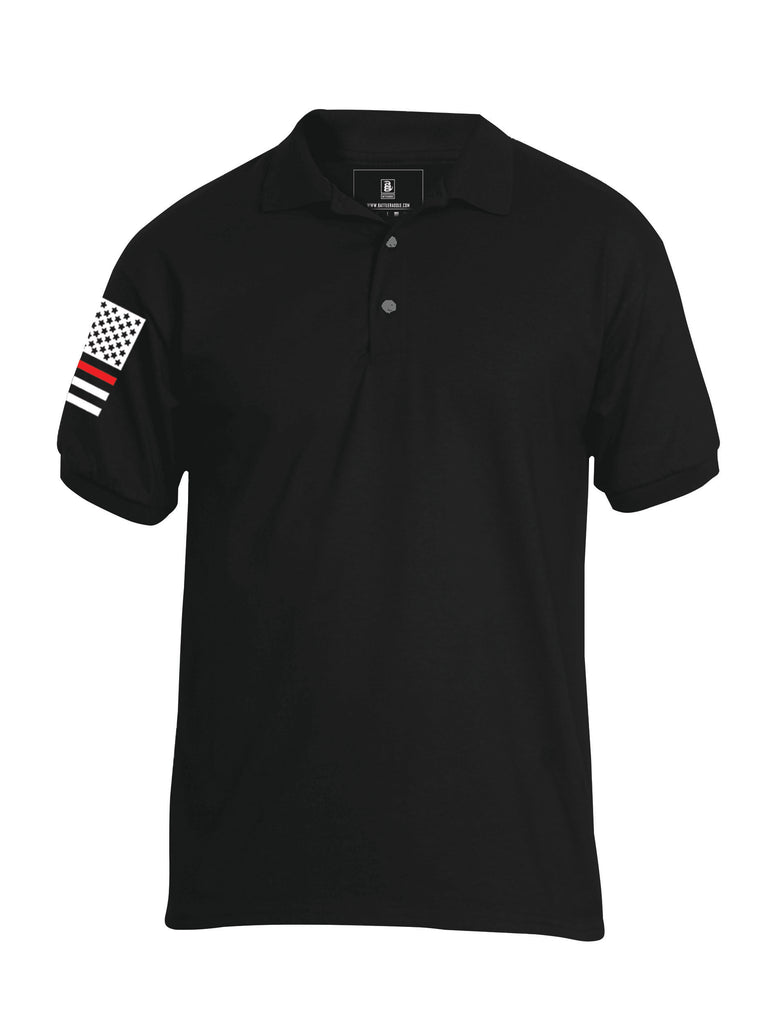 Battleraddle Basic Line Red Line Flag Right Sleeve Mens Battlefit Polyester Jersey Polo T Shirt - Battleraddle® LLC