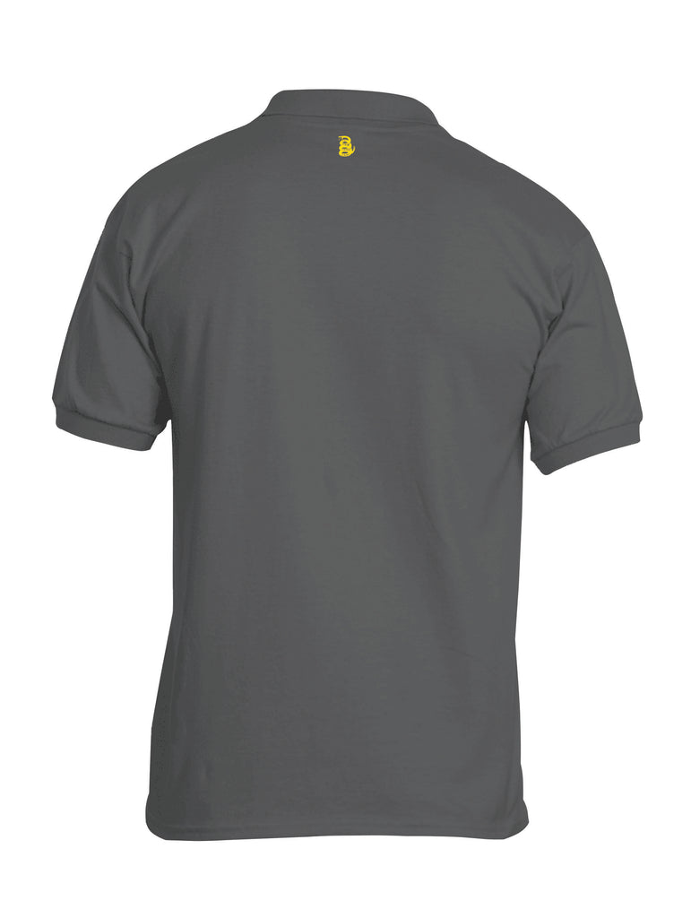 Battleraddle Basic Line Yellow Snake Patch Back Mens Cotton Jersey Polo T Shirt - Battleraddle® LLC