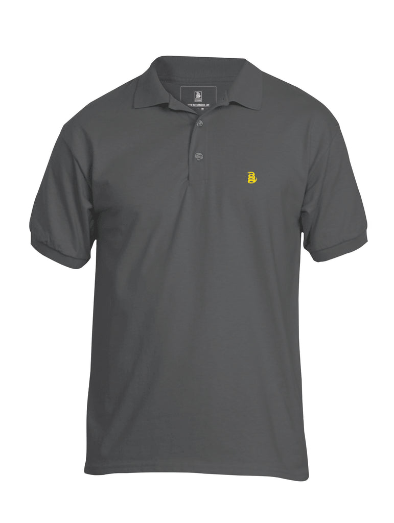 Battleraddle Basic Line Yellow Snake Patch Front Mens Cotton Jersey Polo T Shirt - Battleraddle® LLC
