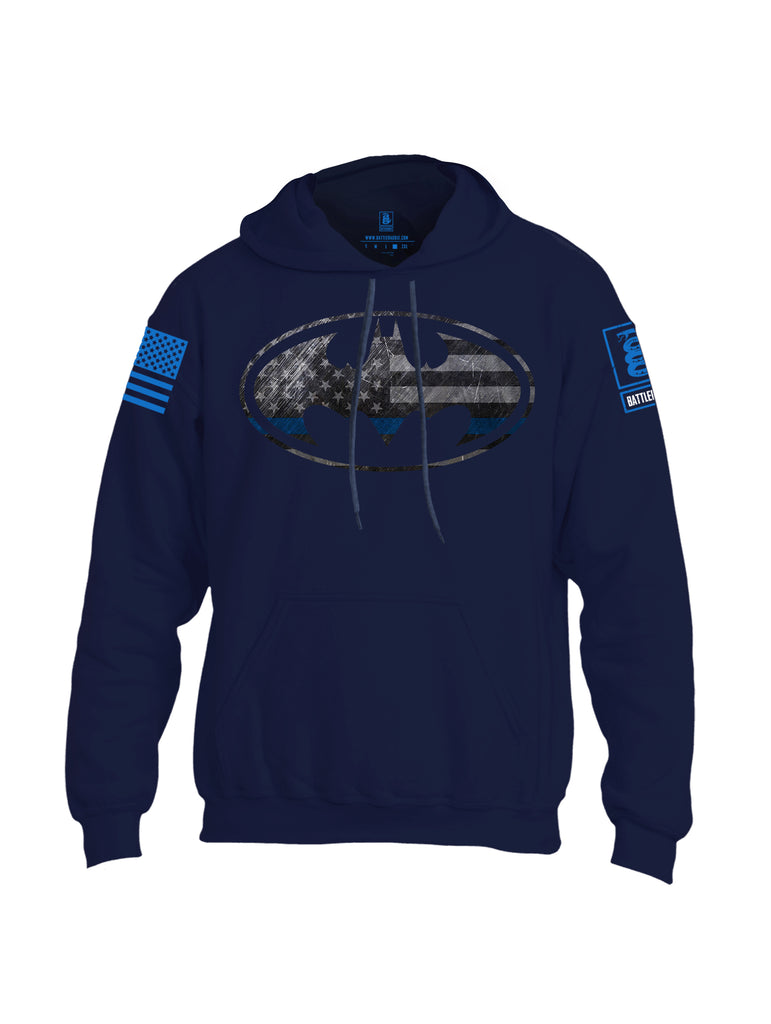 Battleraddle Bat Police Hero Blue Line USA Flag Blue Sleeve Print Mens Blended Hoodie With Pockets
