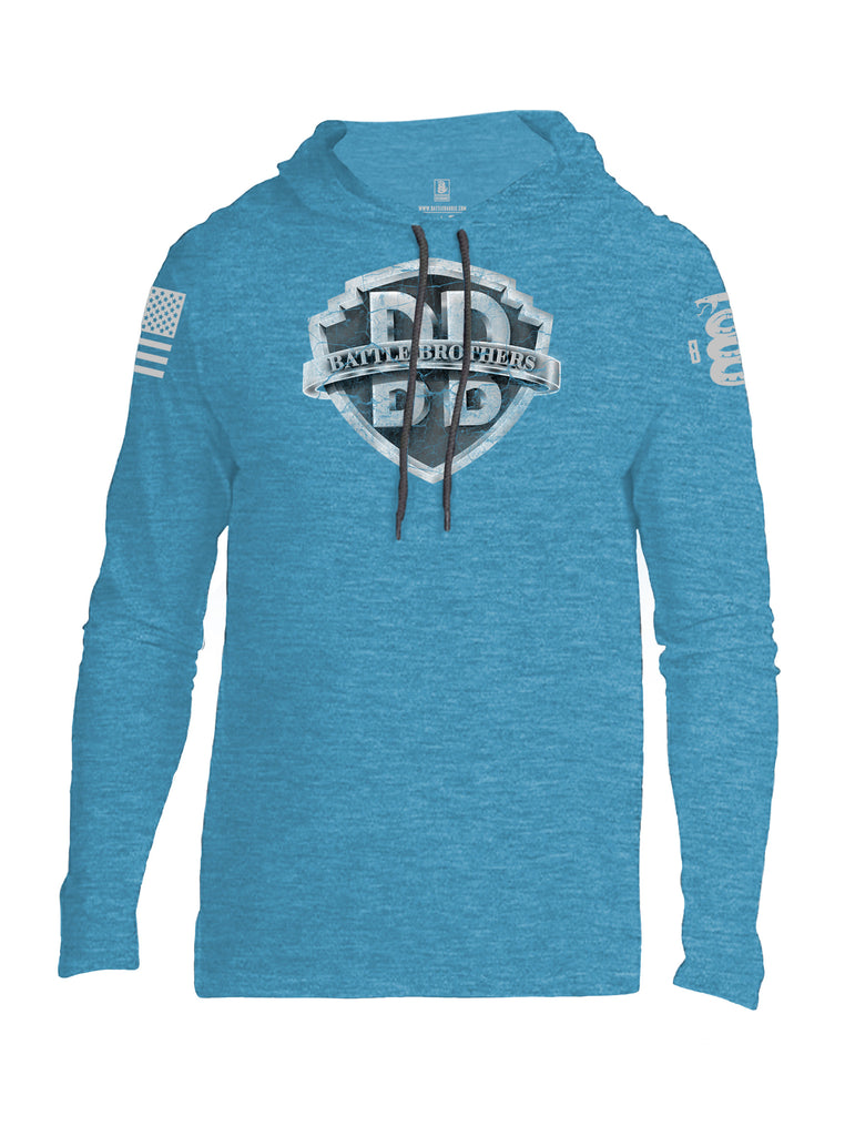 Battleraddle Battle Brothers V2 Grey Sleeve Print Mens Thin Cotton Lightweight Hoodie - Battleraddle® LLC
