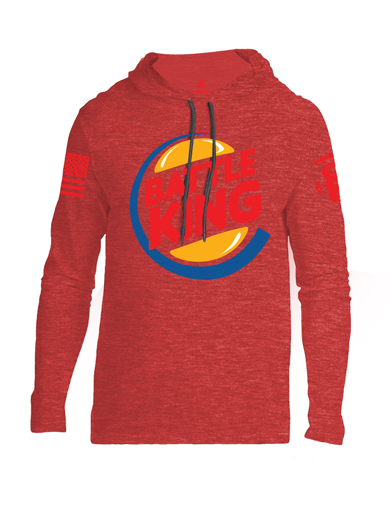Battleraddle Battle King Red Sleeve Print Mens Thin Cotton Lightweight Hoodie - Battleraddle® LLC