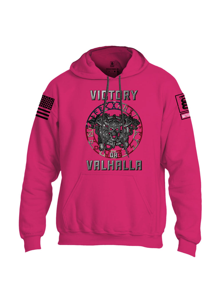 Battleraddle Victory Or Valhalla Black Sleeves Uni Cotton Blended Hoodie With Pockets