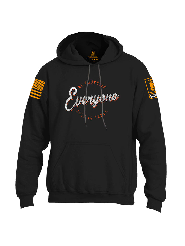 Battleraddle Be Yourself Everyone Else Is Taken Orange Sleeve Print Mens Blended Hoodie With Pockets