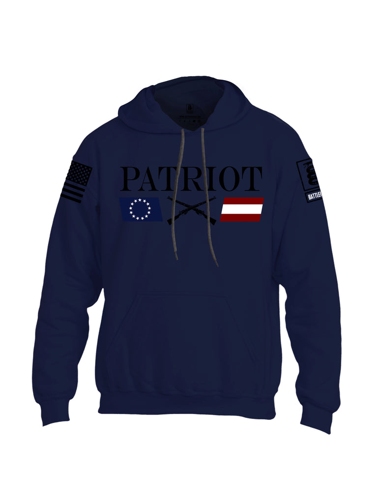 Battleraddle Patriot Rifle Flag Black {sleeve_color} Sleeves Uni Cotton Blended Hoodie With Pockets