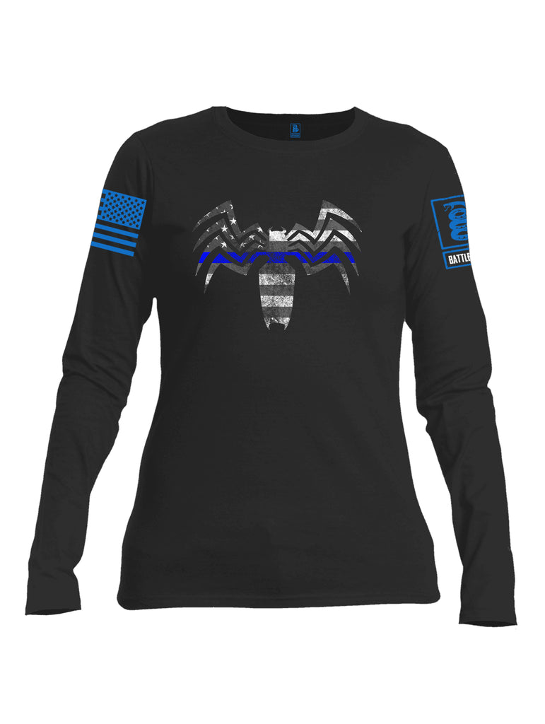 Battleraddle Venomize Flag Blue Line Blue Sleeve Print Womens Cotton Long Sleeve Crew Neck T Shirt