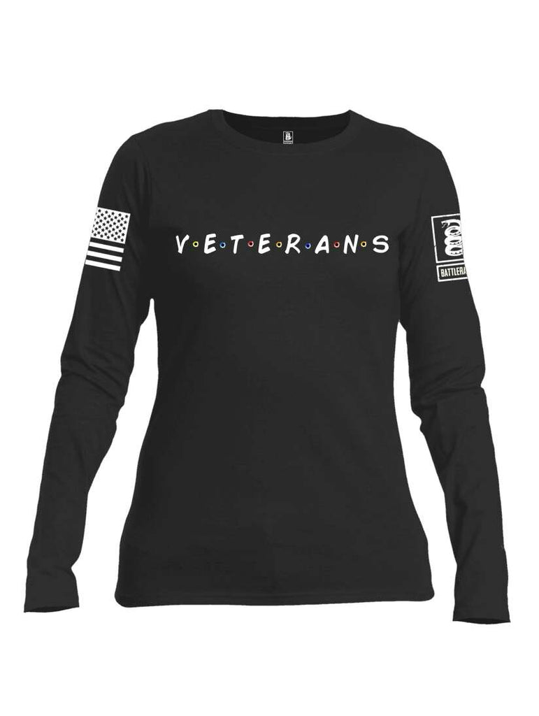 Battleraddle VETERANS White Sleeve Print Womens Cotton Long Sleeve Crew Neck T Shirt