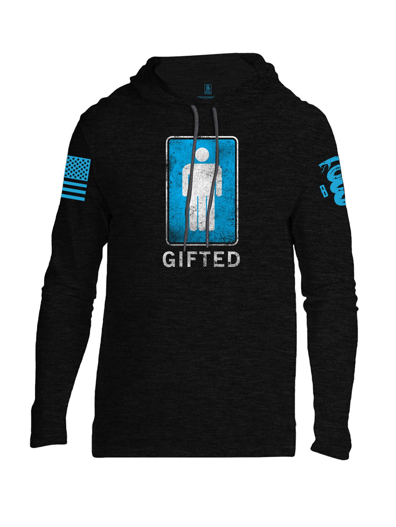 Battleraddle Gifted Blue Sleeve Print Mens Thin Cotton Lightweight Hoodie