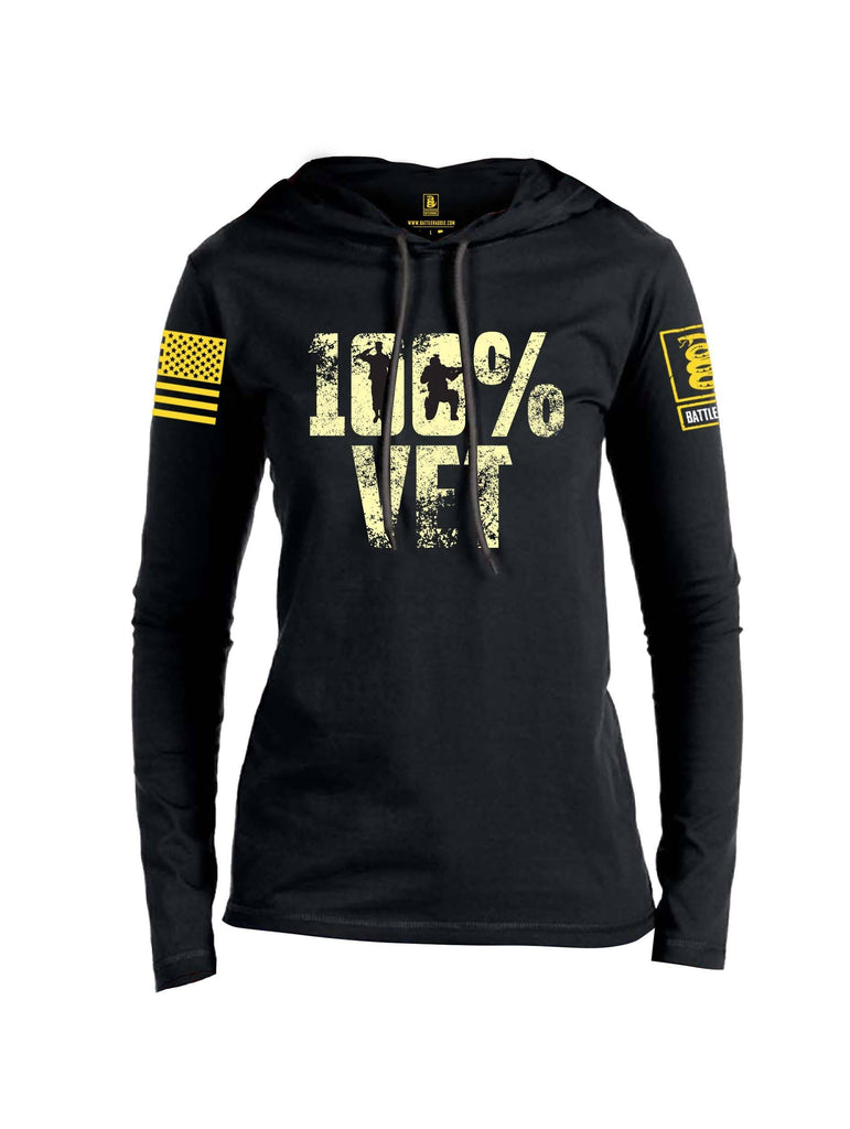 Battleraddle 100% VET Yellow Sleeve Print Womens Thin Cotton Lightweight Hoodie