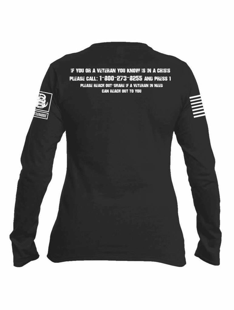 Battleraddle 22 Veterans Die By Suicide A Day White Sleeve Print Womens Cotton Long Sleeve Crew Neck T Shirt
