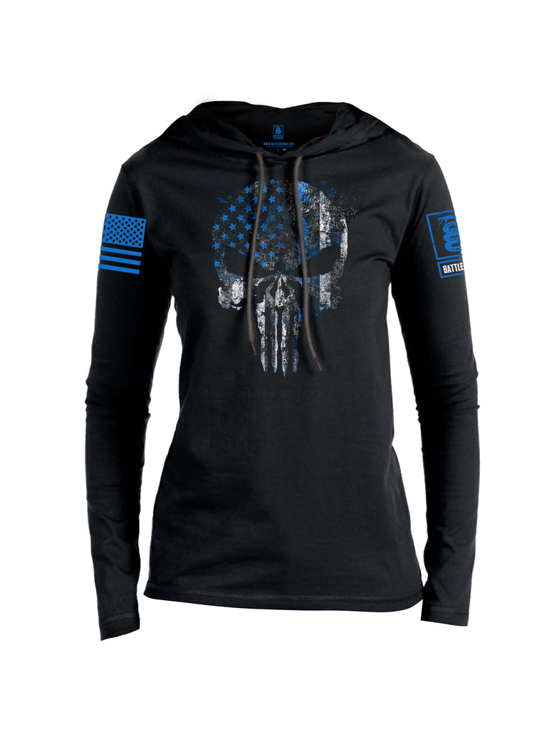 Battleraddle Expounder Thin Blue Line Blue Sleeve Print Womens Thin Cotton Lightweight Hoodie