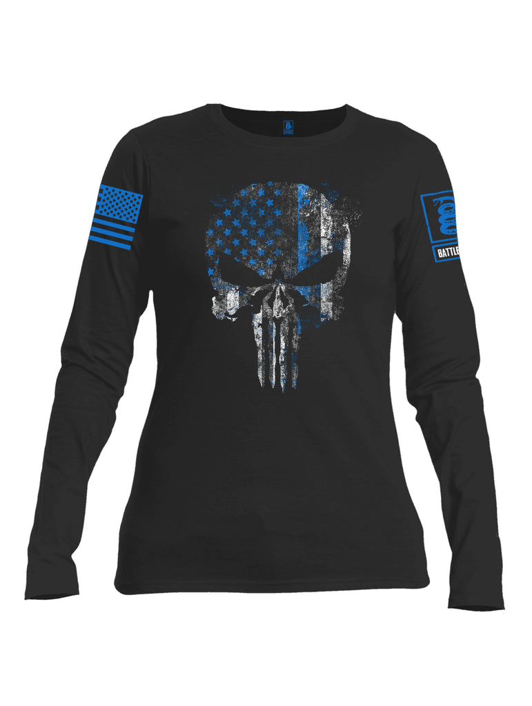 Battleraddle Expounder Thin Blue Line Blue Sleeve Print Womens Cotton Long Sleeve Crew Neck T Shirt
