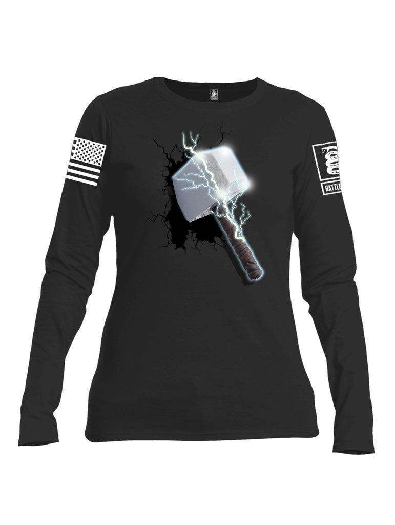 Battleraddle Thorific Hammer White Sleeve Print Womens Cotton Long Sleeve Crew Neck T Shirt