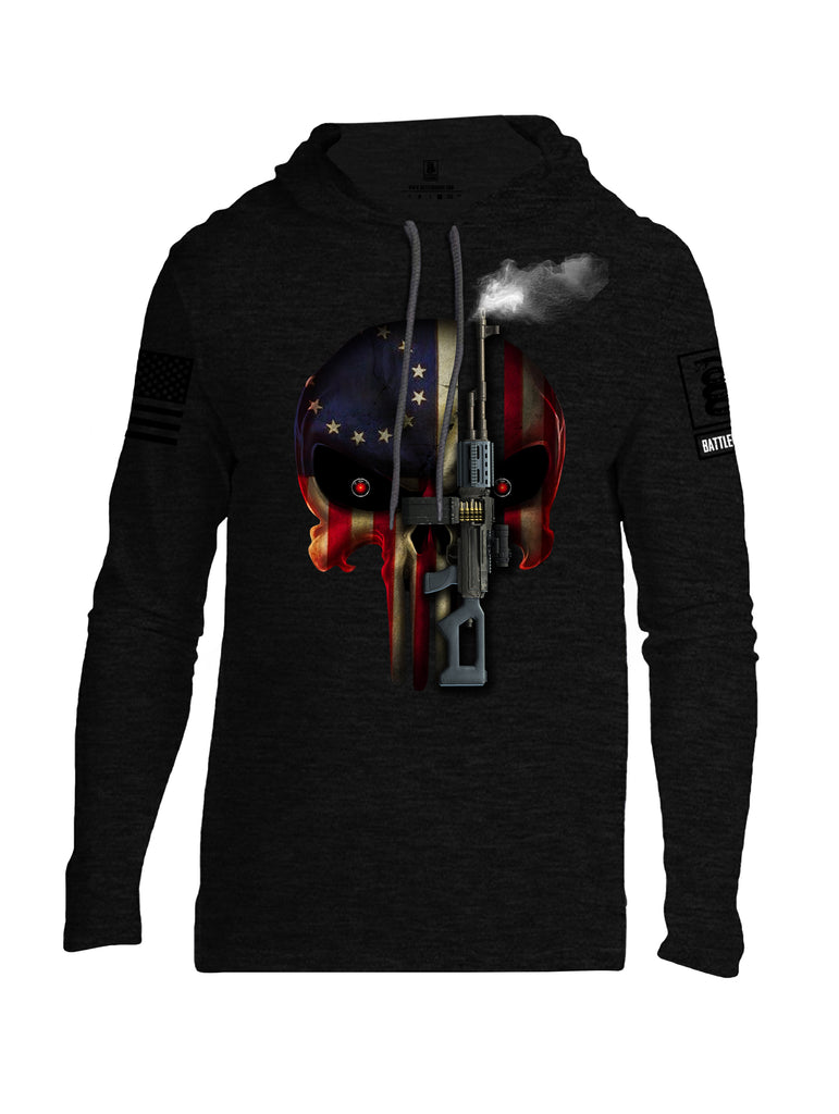 Battleraddle Expounder Machine Gun Black Sleeve Print Mens Thin Cotton Lightweight Hoodie
