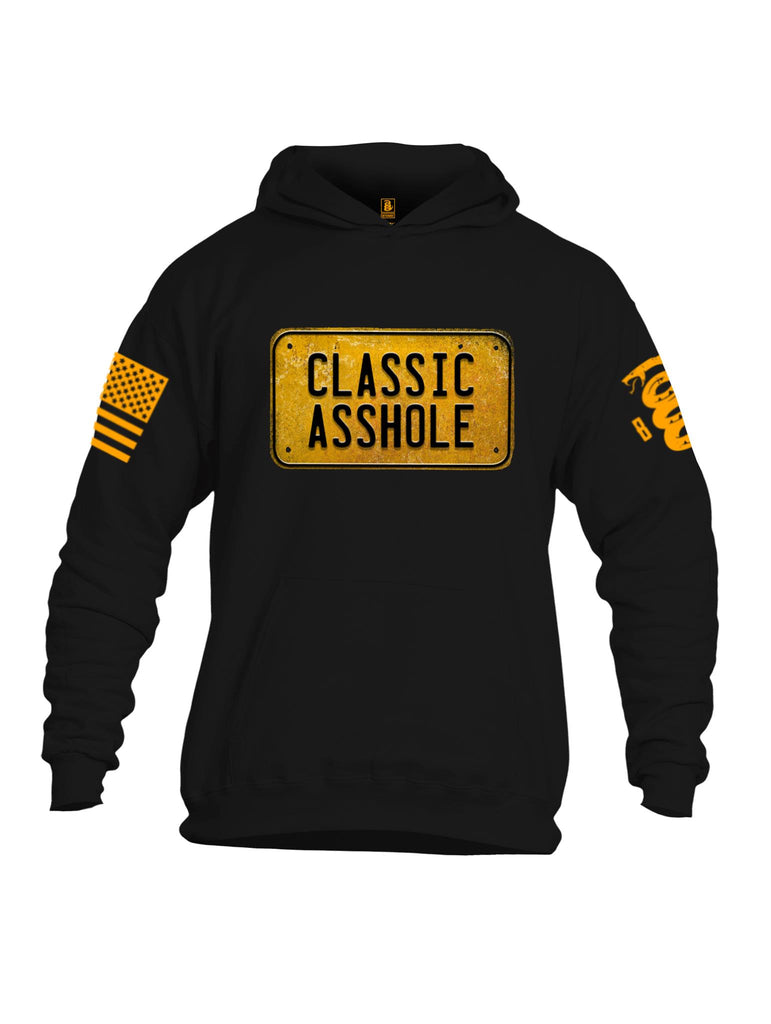 Battleraddle Classic Asshole Yellow Sleeve Print Mens Cotton Pullover Hoodie With Pockets - Battleraddle® LLC