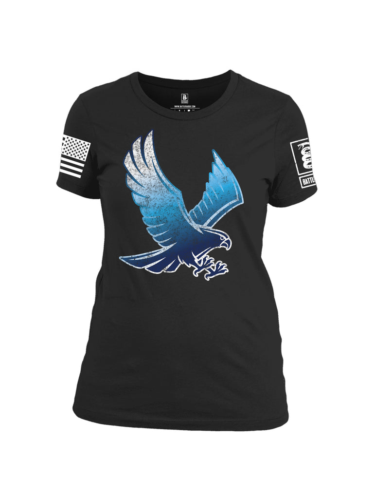 Battleraddle Blue Falcon Fuckin Buddies Over Since 1776 White Sleeve Print Womens 100% Battlefit Polyester Crew Neck T Shirt