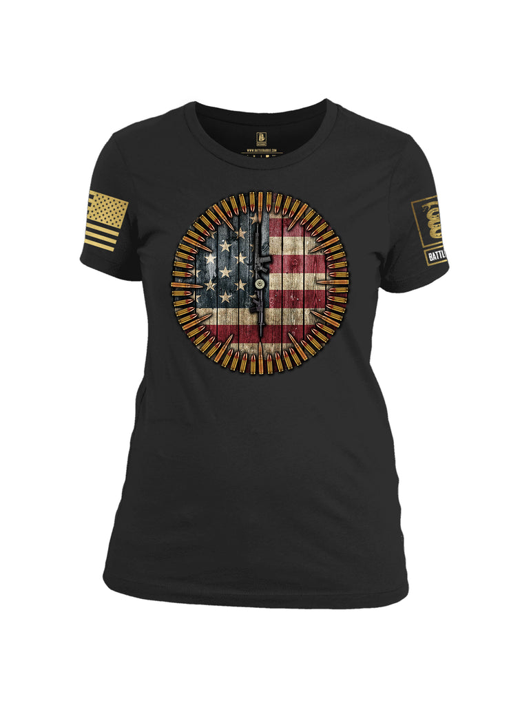 Battleraddle 6 O'clock American Flag Brass Sleeve Print Womens 100% Battlefit Polyester Crew Neck T Shirt