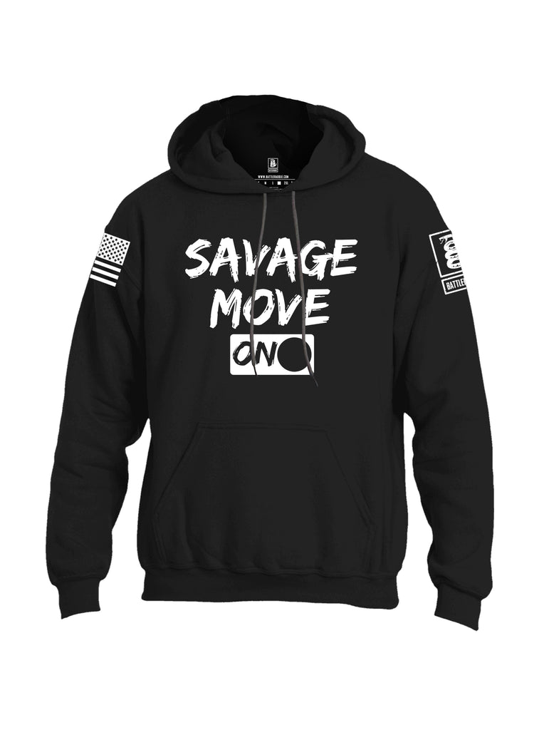 Battleraddle Savage Move On White Sleeve Print Mens Blended Hoodie With Pockets