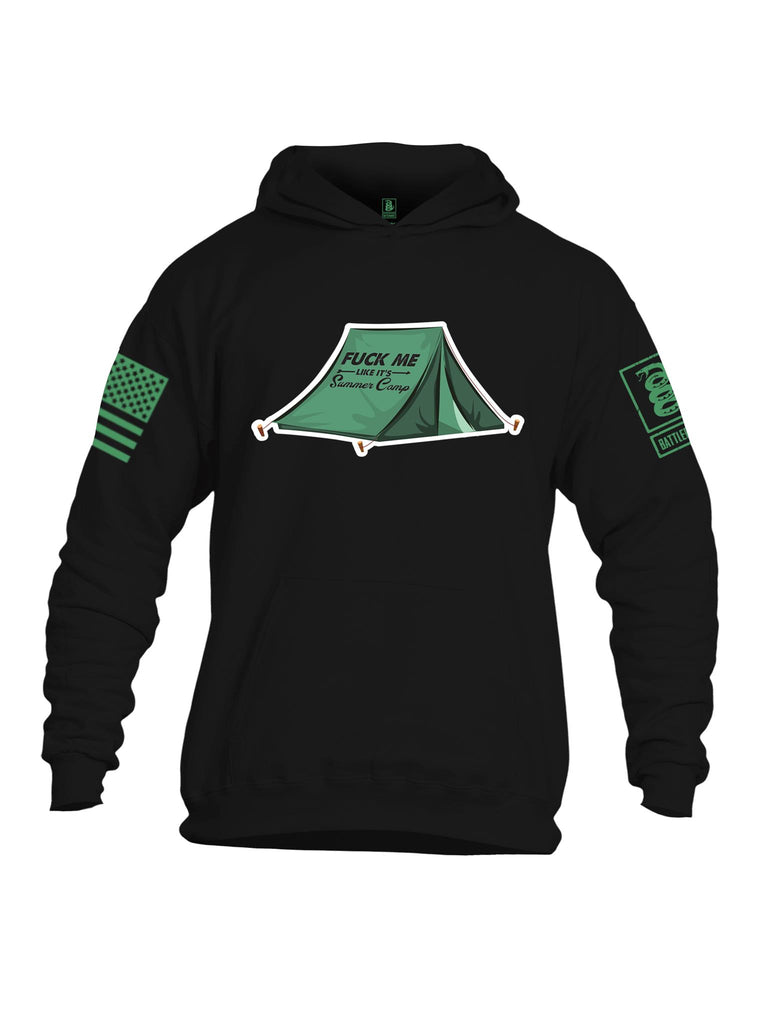 Battleraddle Fuck Me Like Its Summer Camp Light Green Sleeve Print Mens Cotton Pullover Hoodie With Pockets