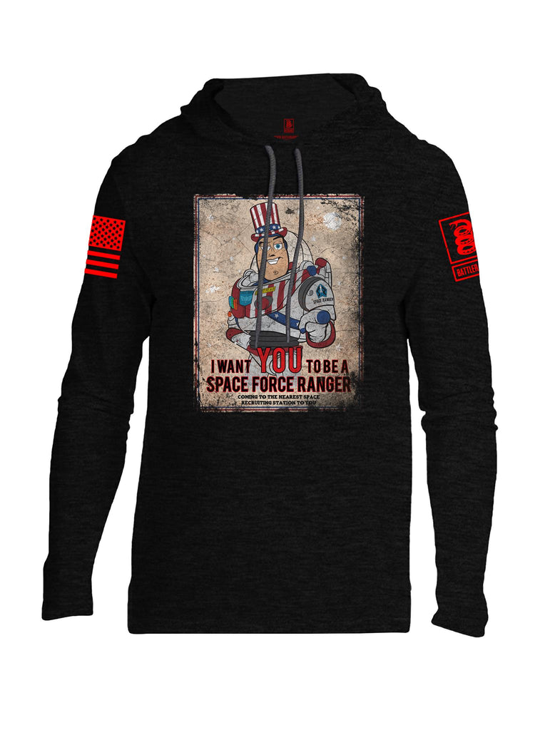 Battleraddle I Want You To Be A Space Force Ranger Red Sleeve Print Mens Thin Cotton Lightweight Hoodie