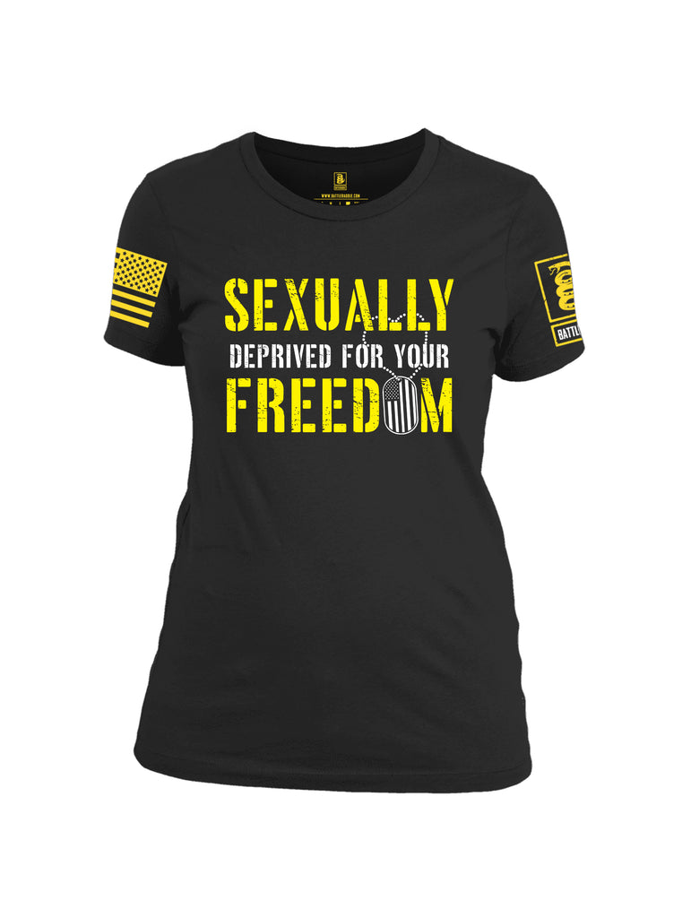 Battleraddle Sexually Deprived For Your Freedom Yellow Sleeve Print Womens Cotton Crew Neck T Shirt