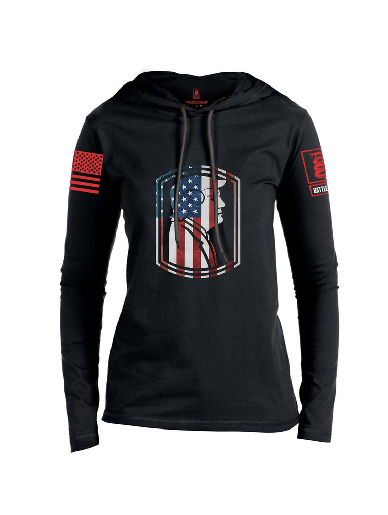 Battleraddle Trump Army USA Flag Red Sleeve Print Womens Thin Cotton Lightweight Hoodie shirt|custom|veterans|Apparel-Womens Hoodie-Cotton