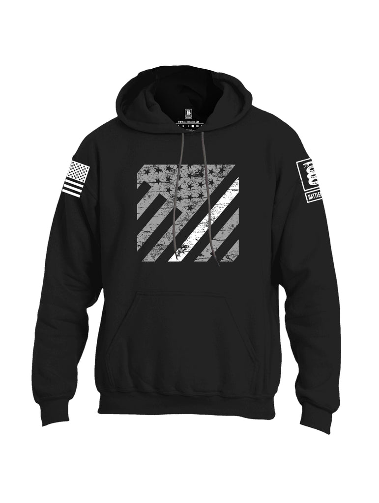 Battleraddle Vertical USA Flag White Line White Sleeve Print Mens Blended Hoodie With Pockets