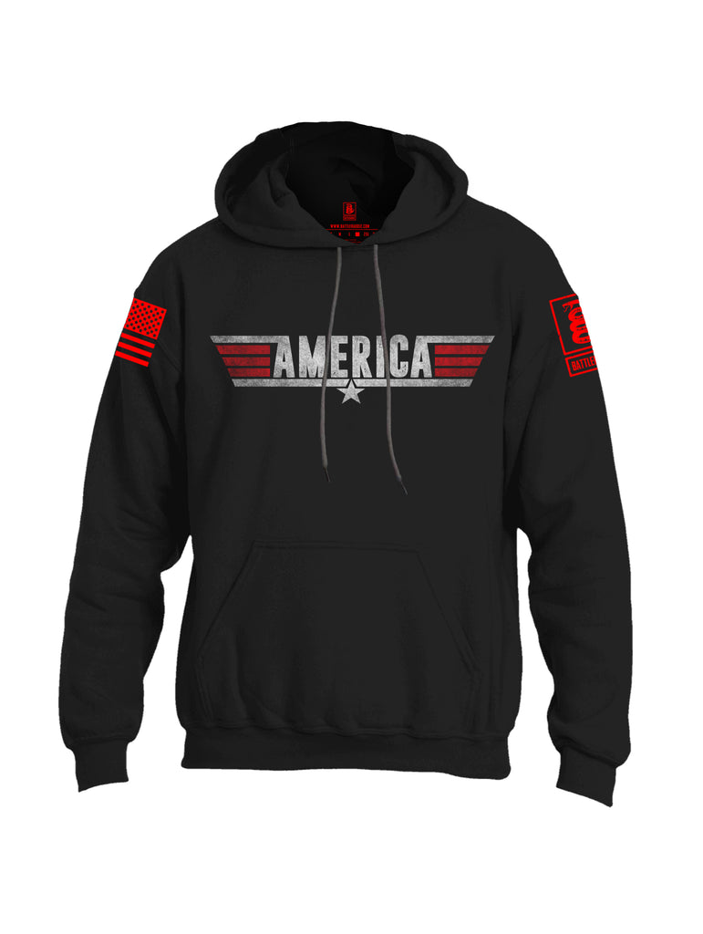 Battleraddle America Red Sleeve Print Mens Blended Hoodie With Pockets - Battleraddle® LLC