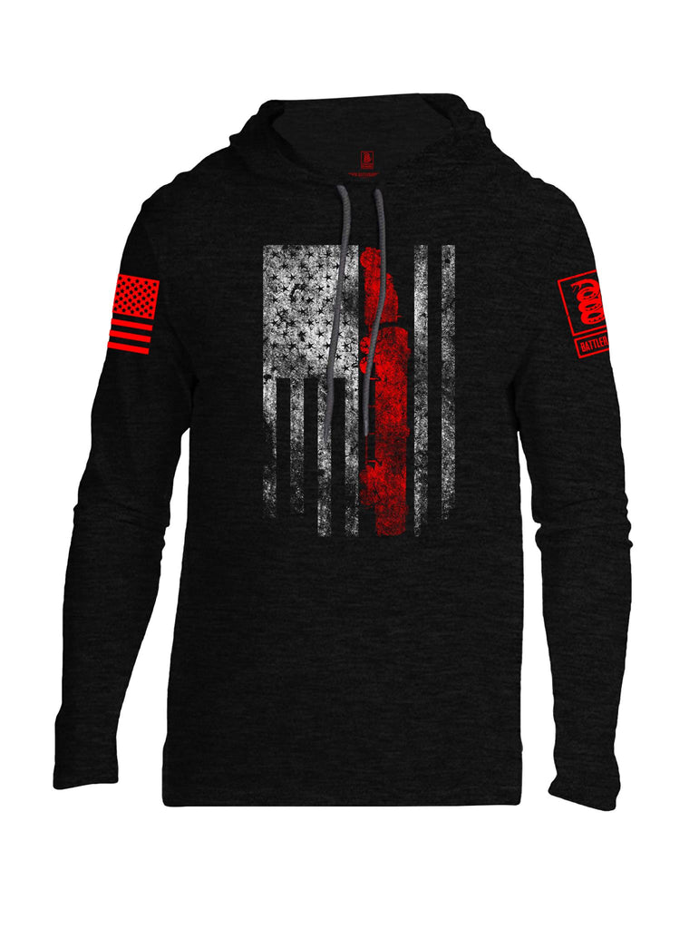 Battleraddle Truck Driver Flag V2 Red Sleeve Print Mens Thin Cotton Lightweight Hoodie