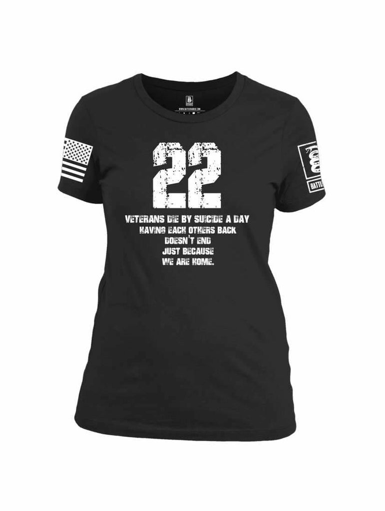 Battleraddle 22 Veterans Die By Suicide A Day White Sleeve Print Womens 100% Battlefit Polyester Crew Neck T Shirt