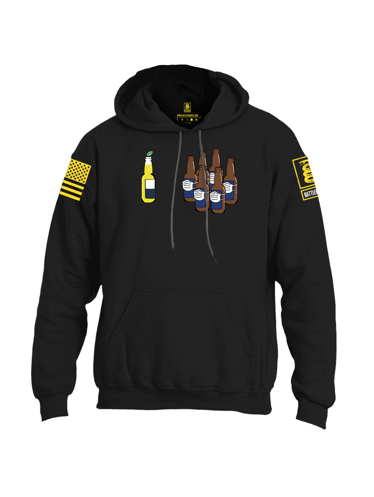 Battleraddle Corona Vs Beer Yellow Sleeve Print Mens Blended Hoodie With Pockets