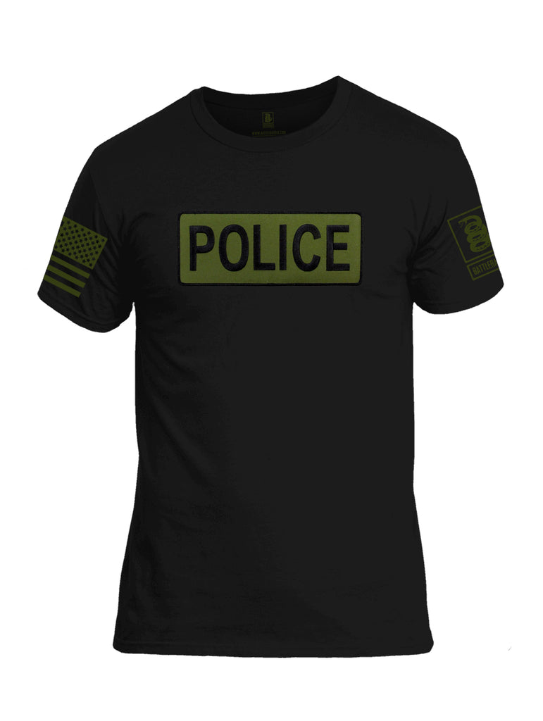 Battleraddle Police Patch Dark Green Sleeve Print Mens Cotton Crew Neck T Shirt