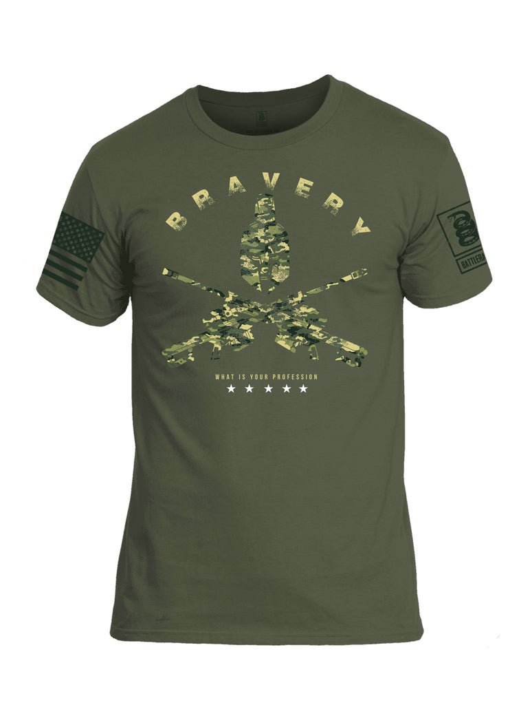 Battleraddle Bravery What Is Your Profession Dark Green Sleeve Print Mens Cotton Crew Neck T Shirt