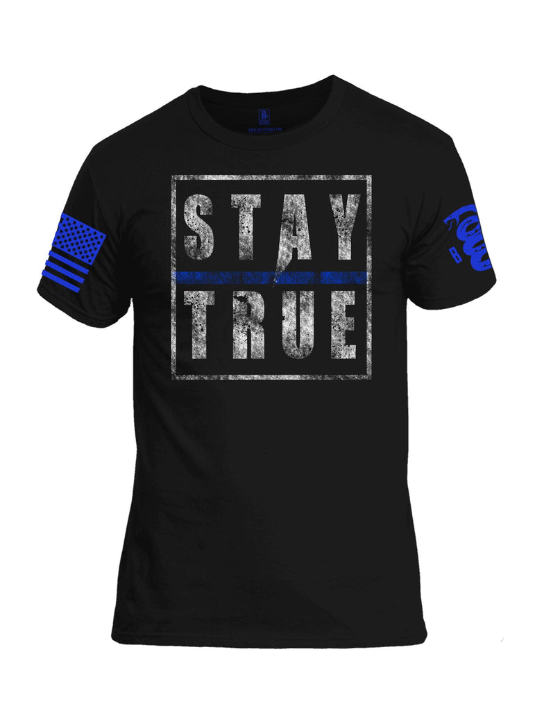 Battleraddle Stay True Blue Sleeve Print Mens Cotton Crew Neck T Shirt