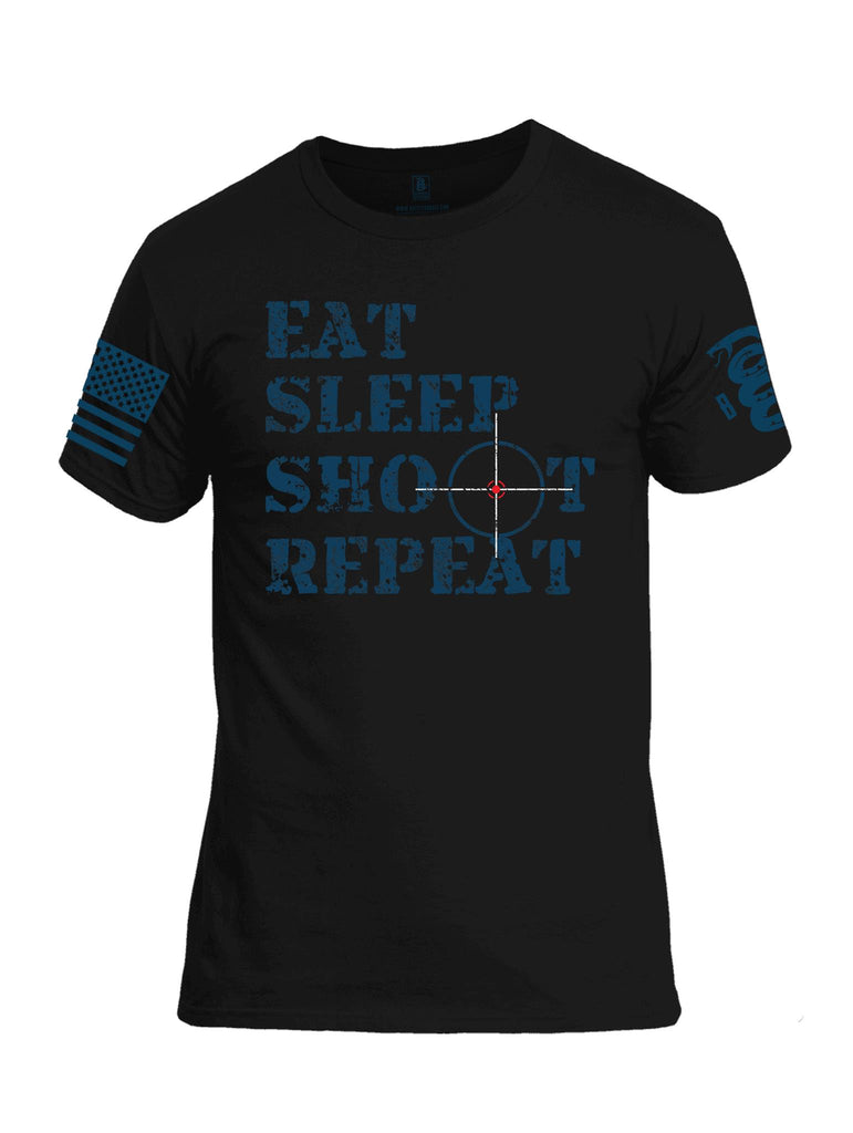 Battleraddle Eat Sleep Shoot Repeat Blue Sleeve Print Mens Cotton Crew Neck T Shirt