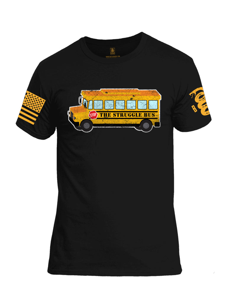 Battleraddle The Struggle Bus Yellow Sleeve Print Mens Cotton Crew Neck T Shirt