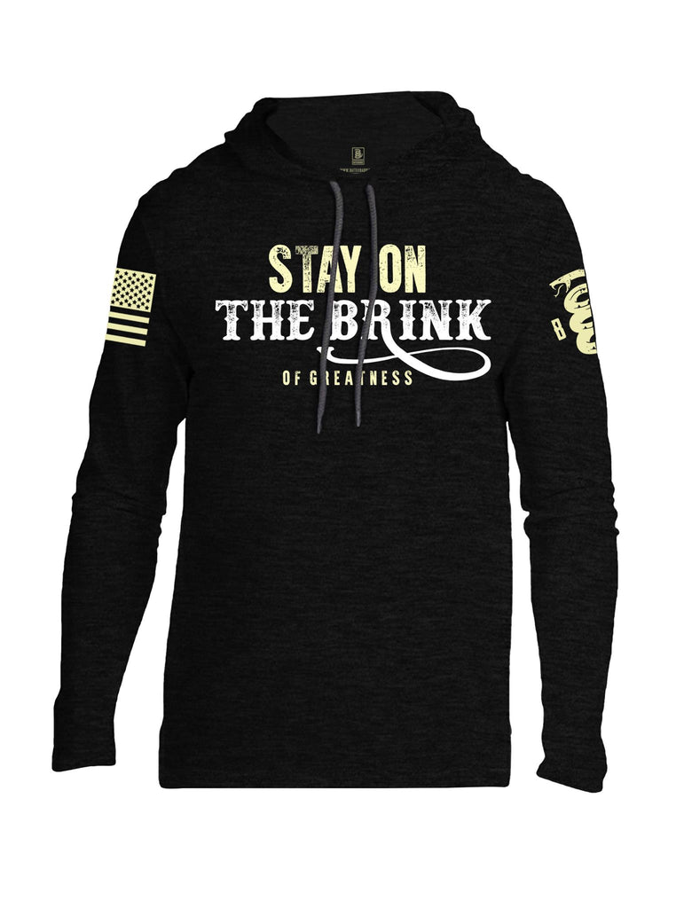 Battleraddle Stay On The Brink Of Greatness Light Yellow Sleeve Print Mens Thin Cotton Lightweight Hoodie