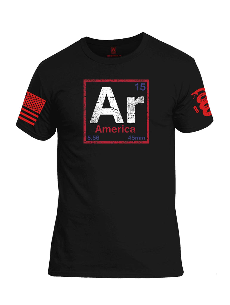Battleraddle Periodic Table Of Elements Ar 15 5.56 45mm America V2 Red Sleeve Print Mens Cotton Crew Neck T Shirt