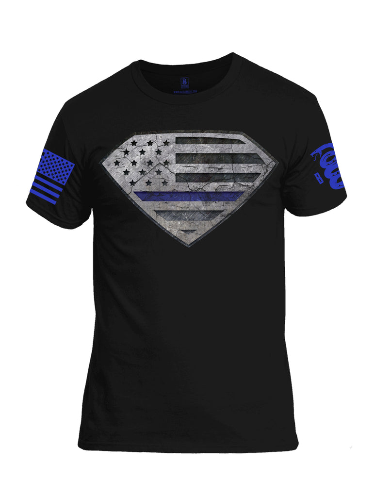 Battleraddle Super USA Flag Blue Line Blue Sleeve Print Mens Cotton Crew Neck T Shirt