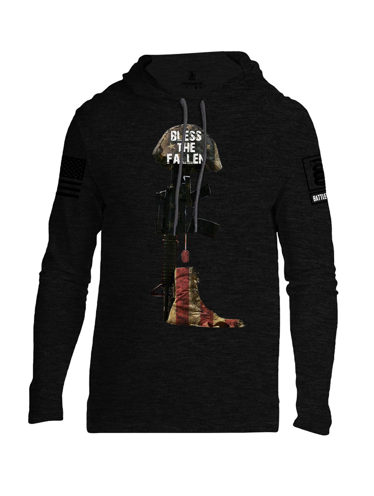 Battleraddle Bless The Fallen Black Sleeve Print Mens Thin Cotton Lightweight Hoodie